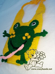 crochet baby bib with frog applique