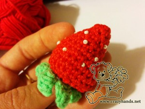 finished crochet strawberry