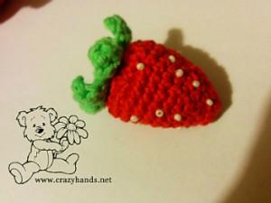 Crochet Strawberry Pattern for Rainbow Cardigan