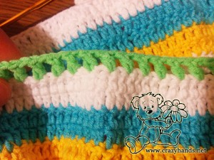 crochet the yoke of baby rainbow cardigan pattern