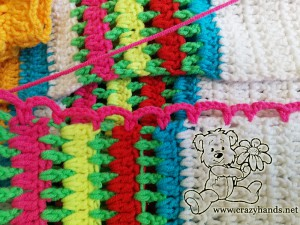 rainbow cardigan pattern: crochet the first raw of the lace - step #2