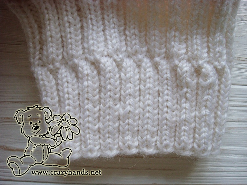 Pink Marshmallow Cable Knitted Hat with Folded Brim