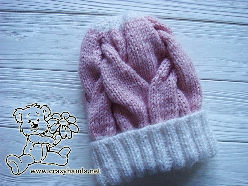 Pink Marshmallow Cable Knitted Hat with White Crown