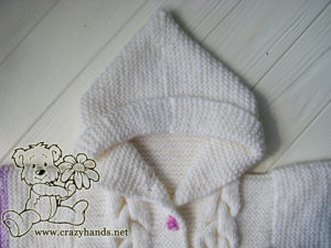 Baby Knit Romper Pattern: Finished Hood