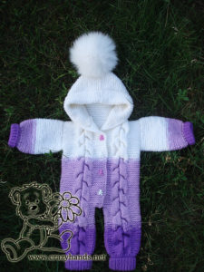 Baby Knit Romper with Cables: Arms on Sides