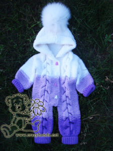 Baby Knit Romper with Cables: Arms Down