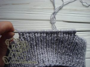 knitting the earflaps of the baby hat - step #2