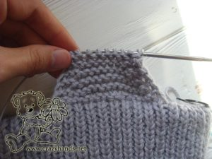 knitting the earflaps of the baby hat - step #3