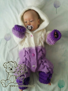 Baby in Knit Romper with Cables (photo two)