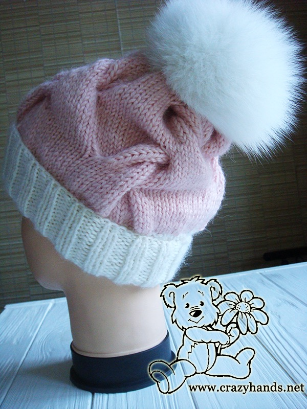 Pink Marshmallow Cable Knitted Hat on Mannequin - Photo 1