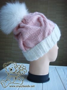 Pink Marshmallow Cable Knitted Hat on Mannequin - Photo 2