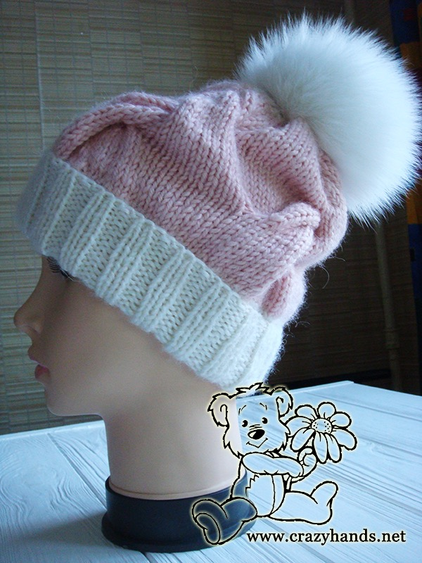 Pink Marshmallow Cable Knitted Hat on Mannequin - Photo 3