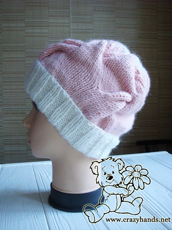 Pink Marshmallow Cable Knitted Hat on Mannequin - Photo 4