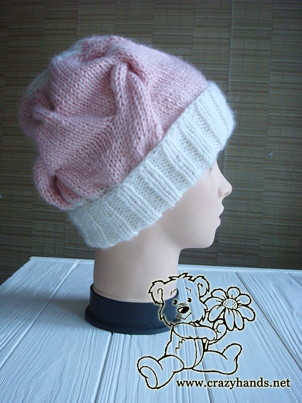 Pink Marshmallow Cable Knitted Hat on Mannequin - Photo 5