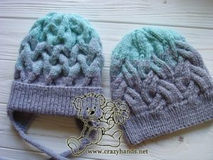 cable knit hats in gradient colors - a set for an adult and a baby