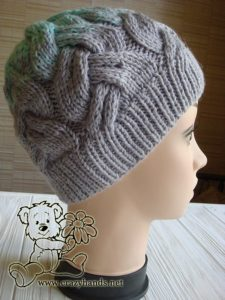 finished cable knit hat for adults - side view