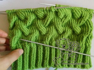Half-knit cable hat with lenth of the body of 18 cm
