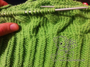 Knitting the body of the cable hat - step#4