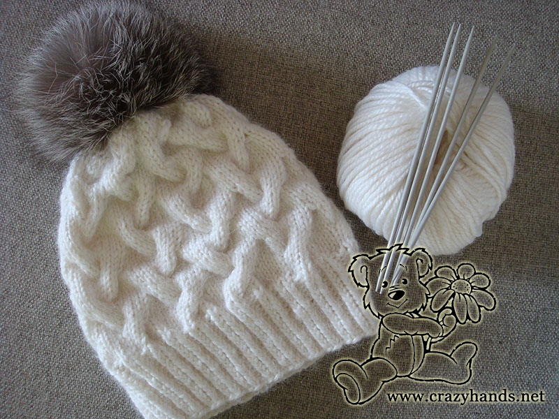 Winter cable knit hat pattern