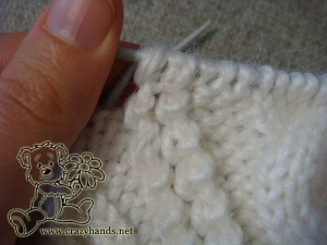 Winter knitted hat: how to make a popcorn stitch, step #6