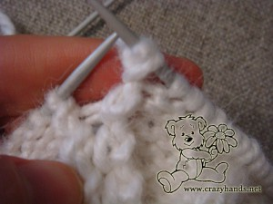 Winter knitted hat: how to make a popcorn stitch, step #5