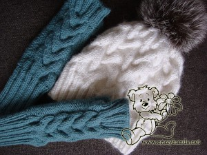 Knitting set: knit fingerless gloves and winter knitted hat