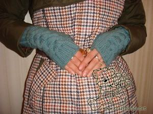light blue cable knit fingerless gloves