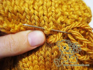 knit cable cowl pattern: invisible seam guide - step #5