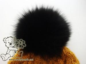 black arctic fox fur pom pom