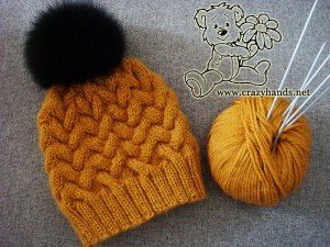 Cable knitted hat pattern