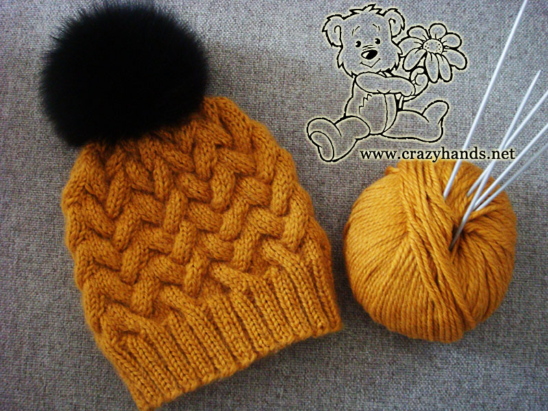 Sandy winter knitted hat pattern with cables