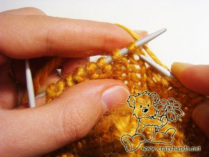 Knitting the first step in the round of increase