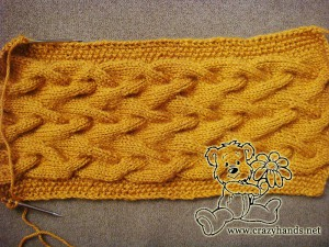 full length of the cable knit cowl