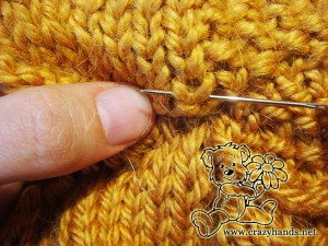knit cable cowl pattern: invisible seam guide - step #3