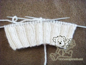 Ribbing of the children's knitted hat