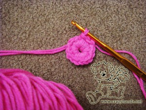 central part of crochet flower for children's knitted beanie