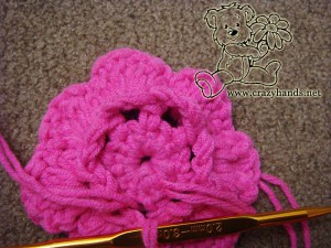 crochet the second layer of the flower with 7 petals for chidren's knitted hat pattern