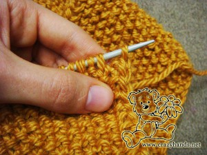 Bind off the stitches for the knitted headband pattern - step #4