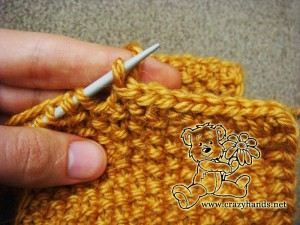 Bind off the stitches for the knitted headband pattern - step #5