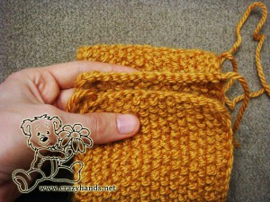 Bind off the stitches for the knitted headband pattern - step #6