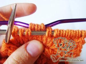 Knit cowl pattern: cable 3 back knitting stitch description - step#2