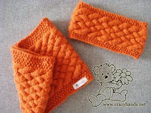 wicker knit cowl and wicker knit headband