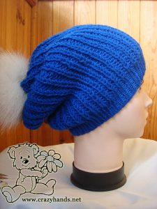 knit slouchy hat with pom pom - back view
