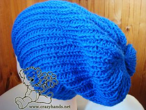 slouchy knit hat on the mannequin - side view