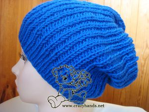 knit slouchy hat on the mannequin - side view