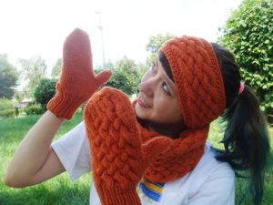 Knitting set: wicker-styled mittens, cowl and headband