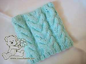rectangular shape of the knit baby hat (no bear ears yet)
