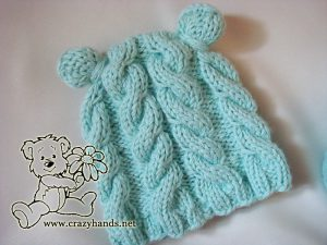 finished baby knit hat with earflaps - newborn size