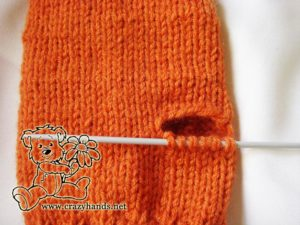 Knitted mittens pattern: how to knit gusset section step #1