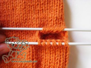 Knitted mittens pattern: how to knit gusset section step #2